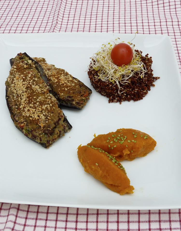 Albergínies de verdura i quinoa